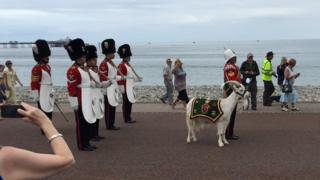 Soldiers from the Royal Welsh with the regimental goat