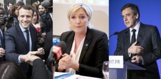 Кандидаты в президенты Франции Эммануэль Макрона (слева), Марин Ле Пен (в центре), Франсуа Фийон (справа)