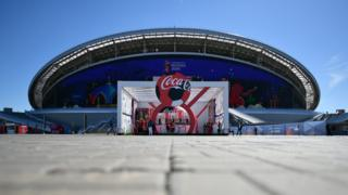 Football stadium showing Coca-Cola logo