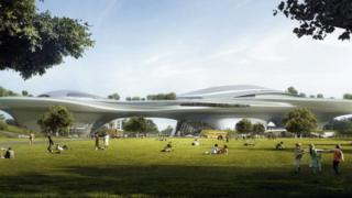 Artist's impression of planned Museum of Narrative Art in Los Angeles' Exposition Park