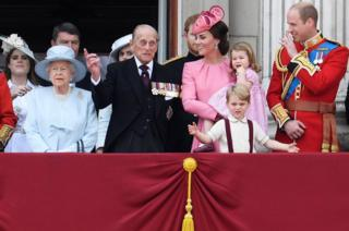 Members of Britain's royal family stand on the balcony of Buckingham Palace after Trooping the Colour in London, Britain