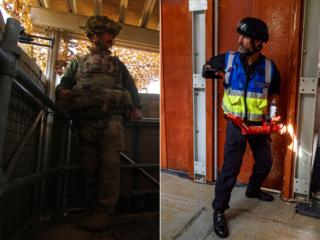 Photos showing Geoff Dunn in the army and as a police response officer