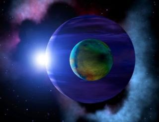 (ภาพจากฝีมือศิลปิน) ที่ใดมีดาวเคราะห์นอกระบบสุริยะ ที่นั่นก็น่าจะมีดวงจันทร์นอกระบบสุริยะเช่นกัน