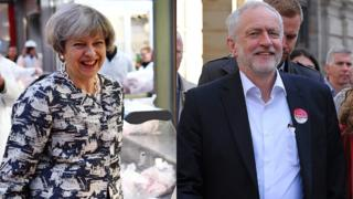 Theresa May e Jeremy Corbyn durante a campanha eleitoral