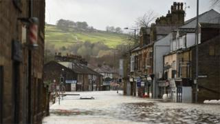 Mytholmroyd's main street flooded