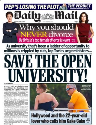 Daily Mail front page - 09/04/18