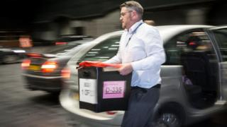 Ballot boxes arrive at Manchester Central