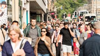 People walking down a street