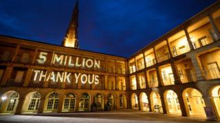 Thank you projection at Piece Hall
