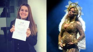A estudante Molly Inglis e a cantora Beyoncé