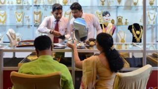Indian customers in a jewellery shop in Bangalore
