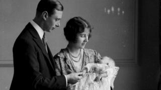 Princess Elizabeth as a baby, with her parents