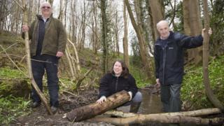 Ceiriog Jones and Bethan Roberts, who farm the upper reaches of the River Clwyd with Gwyn Rowlands (right), of Cadwyn Clwyd