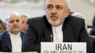 Mohammad Javad Zarif addresses a conference on Afghanistan in Geneva on 28 November 2019