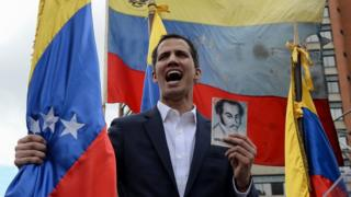 Juan Guaido proclaiming himself Venezuela's president in Caracas on 23/01/2019