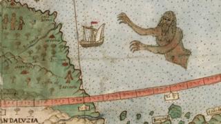 ¿Qué es esa figura que se aproxima a la costa de Venezuela? (Foto gentileza de David Rumsey Map Collection).