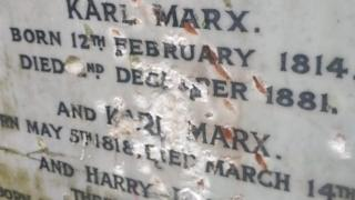 Damage to Karl Marx monument