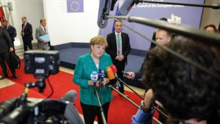 Angela Merkel speaks after talks