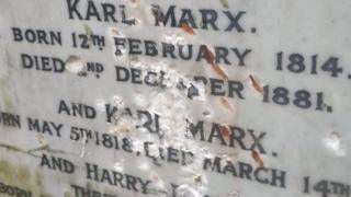 Damage to Karl Marx monument
