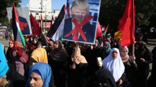 Trump'ı protesto eden Filistinli kadınlar
