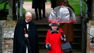 The Queen leaving the service at Sandringham