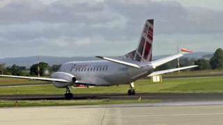 Loganair plane at Carlisle Airport