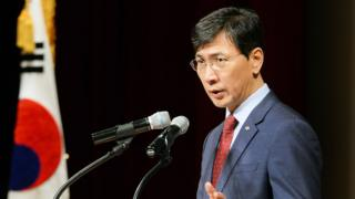 "Ahn Hee-jung, governor of South Korea""s South Chungcheong Province, speaking at a meeting with his employees in Yesan"
