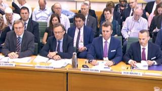 (L-r) Nick Brown and Charles Horton from GTR, David Brown and Rob Warnes from Northern answer questions from the Transport Committee