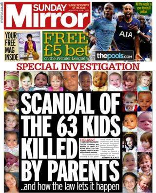 Front page of the Sunday Mirror