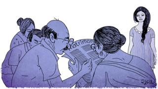 Illustration of a group of people looking at newspaper