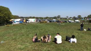 People gathered for the illegal rave at Wytch, near Corfe Castle