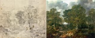 """Эскиз к картине и сам пейзаж """"Лес Гейнсборо"""""""