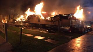 Hayling Island caravan fire