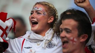 England fans cheering during a World Cup match
