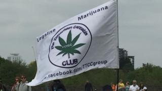 """A """"legalise marijuana"""" banner at the demonstration"""
