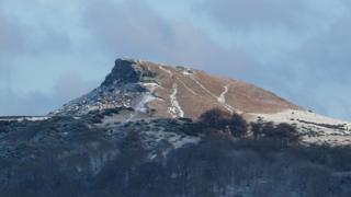 A frozen-looking Roseberry Topping near Great Ayton in North Yorkshire.