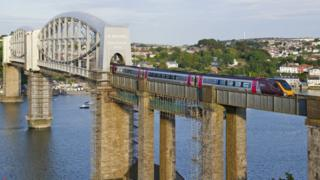 train on Tamar Bridge