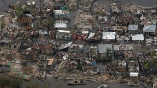 Aerial photo of damaged homes in Haiti