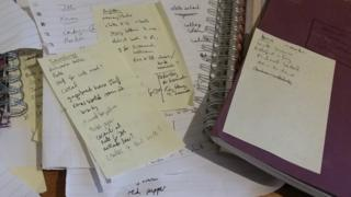 scruffy notes and lists