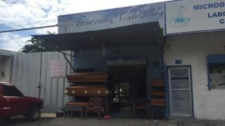 A coffin shop close to the Mario Catarino Rivas hospital in San Pedro Sula, capital of Honduras