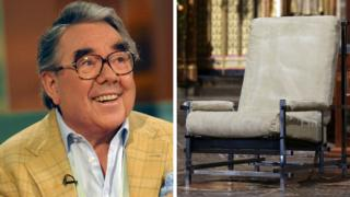 Ronnie Corbett and his chair in Westminster Abbey