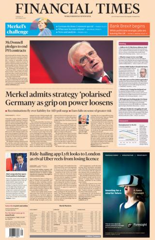 Financial Times front - 26/9/17