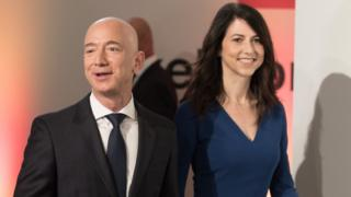 Amazon CEO Jeff Bezos and his wife MacKenzie Bezos arrive at the headquarters of publisher Axel-Springer where he will receive the Axel Springer Award 2018 on April 24, 2018 in Berlin.