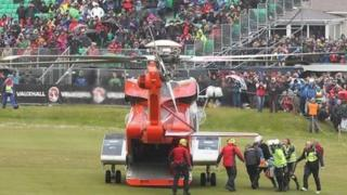 An air ambulance came from Sligo to transfer an injured spectator to hospital in Belfast during the 2015 NW 200