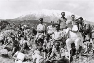 Trek participants at Mount Kilimanjaro including Sightsavers' founder John Wilson