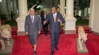 Mkuu wa Fiji Frank Bainimarama wakati alipohudhuria Mkutano wa Shirika la Umoja wa mataifa la makazi mjini Nairobi alipata fiursa ya kumtembelea rais wa Kenya Uhuru kenyatta