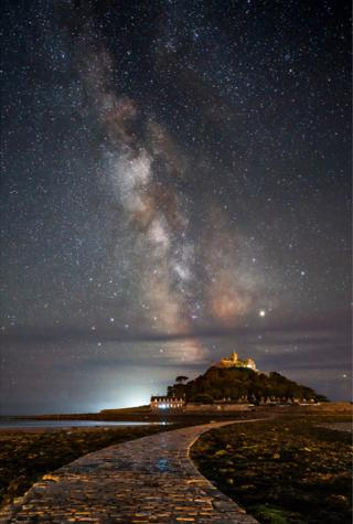 Milky Way meets St Michael's Mount, Cornwall, England.