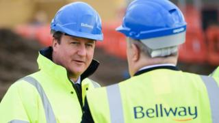 David Cameron visits a building site