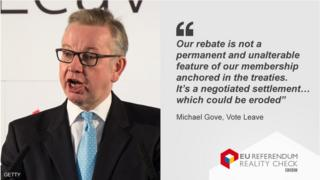 Michael Gove picture with his quote about the rebate