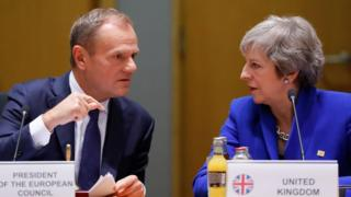 File pic Nov 2018: Britain's Prime Minister Theresa May (R) listens to European Council President Donald Tusk during a special meeting of the European Council.